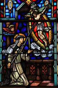 St. Catherine of Siena receiving the stigmata, window in Saint Dominic's Church. Photo by Fr. Lew, O.P.